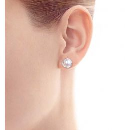 Boucles oreilles couronne Or blanc Diamants. Perles Akoya