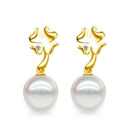 Boucles oreilles pendants - Perles Akoya - AAA - Or jaune et Diamants