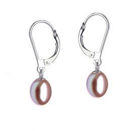 Boucles oreilles perles eau douce lavandes - 8/9mm - AA+ - Or blanc