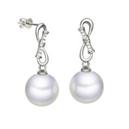 Boucles d'oreilles Bamboo - Pendants oreilles perles & Or blanc