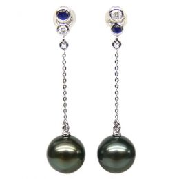 Boucles d'oreilles en or - Perles de Tahiti - Or blanc, diamants, saphirs