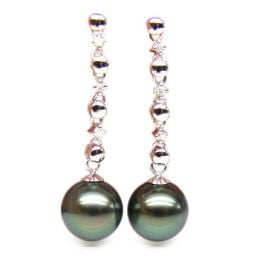 Boucles oreilles chainettes - Perles de Tahiti - or blanc, diamants