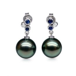 Boucles oreilles perles de Tahiti noires - 9/10mm - GEMME