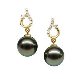Boucles d'oreilles classiques - Joaillerie perles de Tahiti - Or jaune