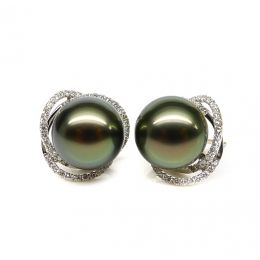 Boucles elliptiques en or blanc - Perles Tahiti, Couronnes diamants