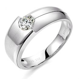 Bague homme duo d'or blanc serti d'un diamant de 0.50ct
