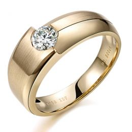 Bague homme duo d'or jaune serti d'un diamant de 0.50ct