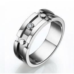 Bijouterie - Bague pour homme originale - Anneau or blanc - Diamant