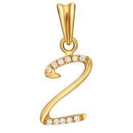 Pendentif chiffre 2 - Or jaune 18cts - Diamants 0.055ct