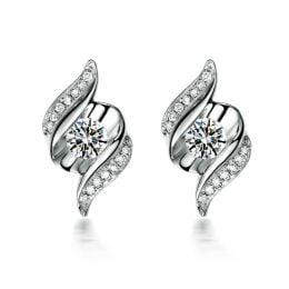 Boucles d'oreilles pendantes. Or blanc Diamants. Carat personnalisable