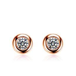 Puces diamants serties clos 0.20ct. Or rose. Carat personnalisable