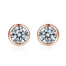 Puces diamants serties clos 0.40ct. Or rose. Carat personnalisable