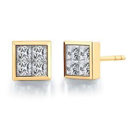 Boucles puces diamants princesse 0.40ct. Or jaune. Personnalisable