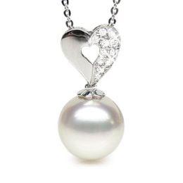 Pendentif coeur diamant - Perle d'Australie - Or blanc
