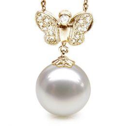 Pendentif papillon or jaune - Perle d'Australie blanche - Diamants