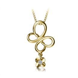 Pendentif diamant solitaire - Fleur papillonnante en or jaune