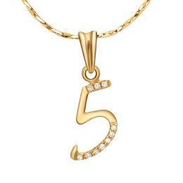 Pendentif chiffre 5 - Or jaune 18cts - Diamants 0.02ct