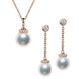 Pendentif et Boucles Style princesse. Perles Akoya, Or rose, diamants.