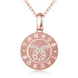 ♉Pendentif Taurus Or rose. Signe du taureau. Zodiaque