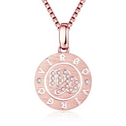 Pendentif Virgo Or rose. Signe de la vierge. Zodiaque