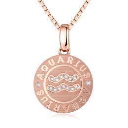 Pendentif Aquarius Or rose. Signe du verseau. Zodiaque