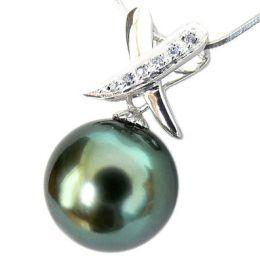 Pendentif cross - Perle de Tahiti noire, bleue - Or blanc, diamants