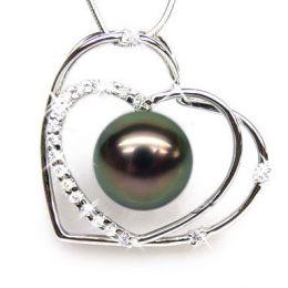 Pendentif double coeur - Perle Tahiti paon aubergine - Or blanc, diamants