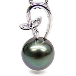 Pendentif tige en fleur - Perle de Tahiti - Or blanc, diamants