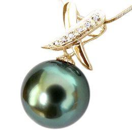 Pendentif cross - Perle de Tahiti noire, bleue - Or jaune, diamants