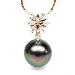 Pendentif étoile perle de Tahiti noire, or jaune et diamants sertis