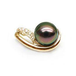 Pendentif perle de Tahiti noire - Orient paon - Or jaune, diamants