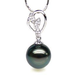 Pendentif pétales d'or blanc - Diamants pavés - Perle de Tahiti