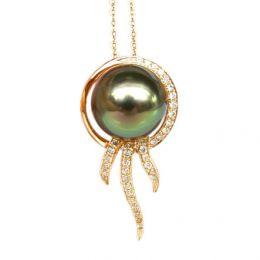 Pendentif océan - Perle de Tahiti - Or jaune, diamants