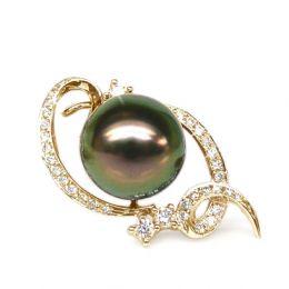 Pendentif perle Tahiti - Perle noire, paon aubergine - Or jaune, diamants