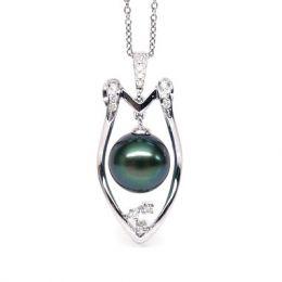 Pendentif protection - Bouclier - Perle de Tahiti - Or blanc, diamants