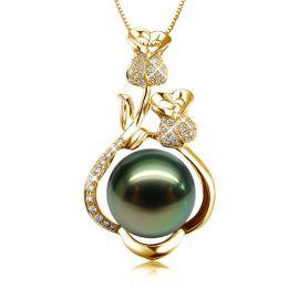 Pendentif la vie en rose - Perle de Tahiti - 2 roses or jaune, diamants