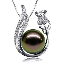Pendentif rose - Perle Tahiti noire - Or blanc, diamants - La vie en rose