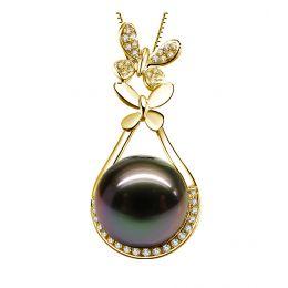 Pendentif papillon - Perle de Tahiti noire - Or jaune, diamants