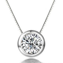 Collier pendentif - Diamant solitaire or blanc