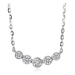 Collier pendentif Or blanc. 5 diamants sertis clos 0.26ct