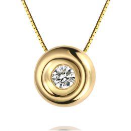 Collier solitaire pendentif or jaune - Diamant serti clos 0.10ct