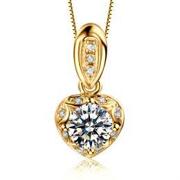 Pendentif Coeur Or jaune 18cts et diamants 0.37ct