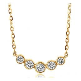 Collier pendentif Or jaune. 5 diamants sertis clos 0.26ct