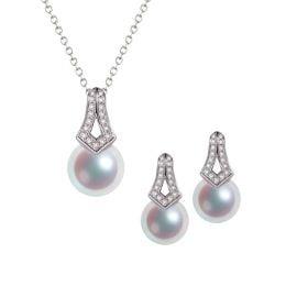 Pendentif et Boucles Michiko. Perles Akoya, Or blanc, diamants