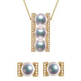 Pendentif et Boucles Otohiko. Perles Akoya, Or jaune, diamants