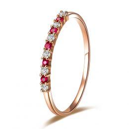 Bague anneau rubis, diamants - Or rose 18 carats