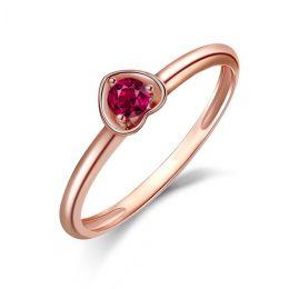 Bague rubis et or rose - Monture coeur