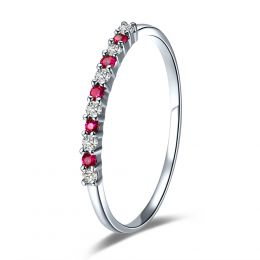 Bague rubis anneau, diamants - Or blanc 18 carats