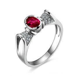 Bague rubis ovale, diamants, or blanc - L'esthétique du caractère