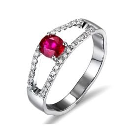 Bague rubis or blanc et diamants sertis